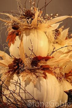I can& wait to do this white pumpkin topiary in our urns and hang our new Fall Football flag! I love FALL! Fall Topiaries, Pumpkin Topiary, Diy Pumpkin, Thanksgiving Decorations, Halloween Decorations, Holiday Decor, Thanksgiving Crafts, Pumpkin Decorations, Harvest Decorations