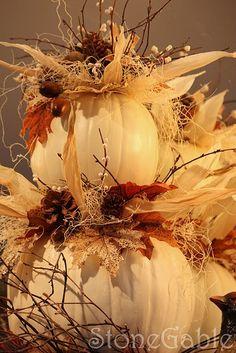 white pumpkin topiar