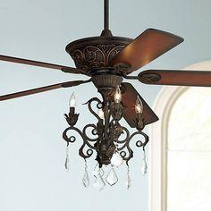 Casa Contessa™ Dark Bronze Chandelier Ceiling Fan