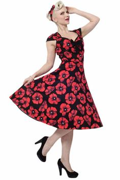 Red Poppy on Black Isabella Dress : Lady Vintage - £45. Made in London. Available in Sizes 8-20/22.