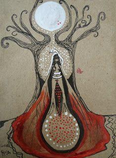 Primera fase - La bruja.- Mestruación Ciclo de la luna roja - luna nueva