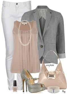 Although the blazer may look like a work outfit, worn open, without the purse and flats of a similar color, this can be worn by a teenager/young adult going to semi casual dinner with the fam Fashionista Trends, Fashion Trends, Fashion Ideas, Look Office, Office Looks, Office Style, Komplette Outfits, Dressy Outfits, Work Outfits