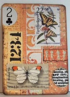 Mini Mixed media and arty pieces. Love the idea of using postage stamps Art Journal Pages, Journal Cards, Art Journals, Junk Journal, Playing Card Crafts, Playing Cards Art, Atc Cards, Card Tags, Art Trading Cards