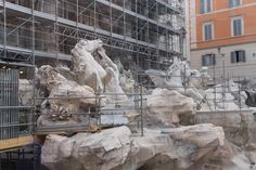 The Trevi fountain unfortunately no water this time.