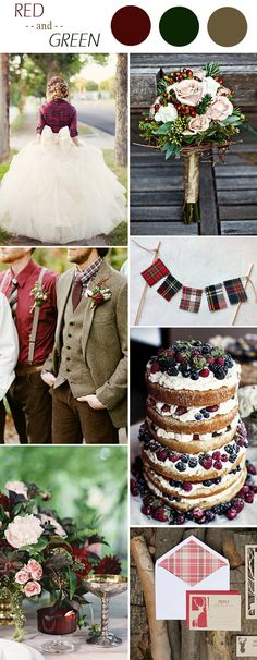 christmas inspired red and green winter wedding colors ideas 2015
