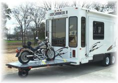 The The ultimate motorcycle transport system for use with your fifth wheel travel trailer.