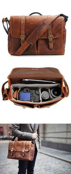 Cognac Camera Messenger Bag