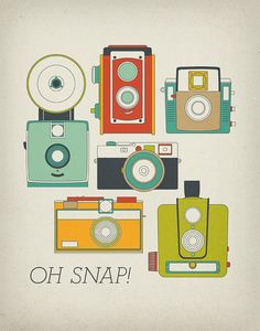 Oh Snap Retro Vintage Camera 11x14 Art Print by ProjectType, $23.00