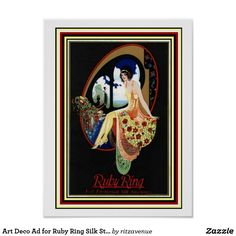 Art Deco Ad for Ruby Ring Silk Stockings 12 x 16  $13.00