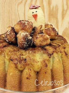 Bundt de limón y canela con yema tostada y nido de buñuelos SIN GLUTEN.