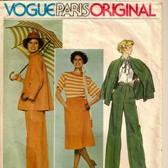 A Classic Vintage Vogue Givenchy Unlined Jacket with Mandarin Collar, Straight Leg Pants and A-Line Skirt Pattern, Vintage 1970s