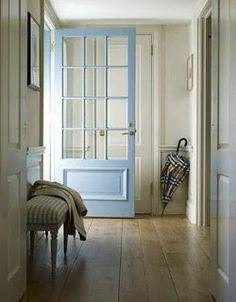 blue door, wide planks