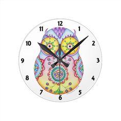 Owlushka - whimsical owl Bright Eyes wall Clock