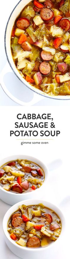 This Cabbage, Sausage and Potato Soup recipe is hearty and comforting, it's filled with lots of tender cabbage, smoked sausage (I used Kielbasa), carrots, potatoes, leeks and herbs, and it's SO delicious! | Gimme Some Oven (Gluten-Free / Dairy-Free) Cabbage And Potato Soup, Meals With Cabbage, Veggie Sausage, Cabbage Recipes With Sausage, Cabbage Soup Recipes, Cabbage Stew, Crockpot Cabbage Soup, Recipe For Cabbage Rolls, Turkey Sausage