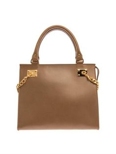Structured chain-side leather tote | Sophie Hulme | MATCHESFAS...
