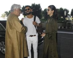 Anuskha Sharma and Virat Kohli with Javed Akhtar