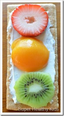 STOPLIGHTS:  Make this snack sweet as shown by spreading cream cheese on a graham cracker and topping with fruit.  Or make a veggie version by spreading your cream cheese on a celery stick and adding little red, yellow and green pepper circles!