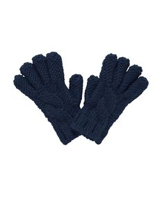 Navy Blue Cable Knit Gloves