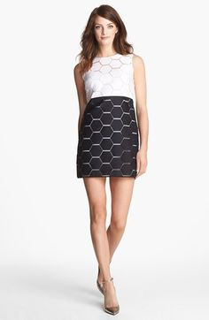 """Milly 'Eloise' Hexagon Pattern Sleeveless Shift Dress available at #Nordstrom You'll feel like the bee's knees in a cotton-and-silk shift dress presented in ever-chic black and white. Unfinished appliqué edges and an exposed back-zip closure complement the ultramodern aesthetic.     33 1/2"""" length  and Exposed back-zip closure"""