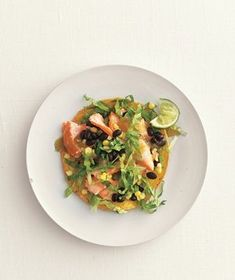 Salmon, Black Bean, and Corn Tostadas | RealSimple.com