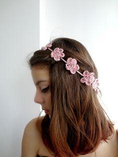 Forget Me Not Flower Headband: #free #crochet #pattern by Maya Kuzman