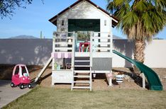 Operation Clubhouse {DIY Playhouse with Slide} - Kids playhouse Kids Playhouse With Slide, Kids Outside Playhouse, Diy Playhouse, Kids Playhouse Plans, Playhouse Outdoor, Cubby Houses, Play Houses, Kids Shed, Cool Tree Houses