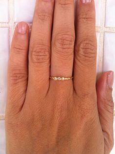 SALE triple slim gemstone ringstackable ringgold von KarelliJewelry, ₪79.00