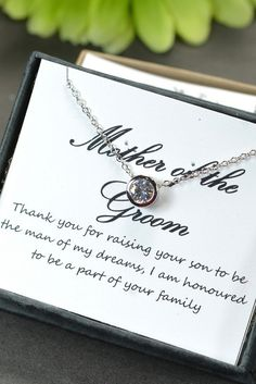 Mother of the groom,mother of the bride gift,mother on law gift,thank you for rasing the man of my dream,necklace & box card,cubic