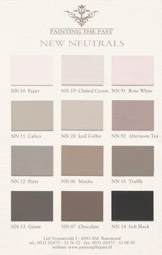 Painting the Past New Neutrals kleurenkaart Bedroom Paint Colors, Wall Colors, House Colors, Neutral Paint, Neutral Colors, Taupe Color, Renovation Facade, Color Pallets, Colour Schemes