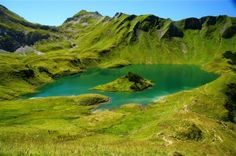 Green lakes and mountains
