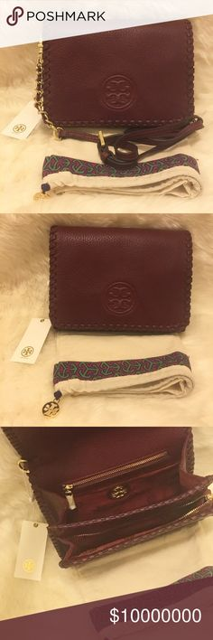 Tory Burch Marion Combo Crossbody New with Tag. Never worn. Comes with dustbag.  Color: Shiraz/Wine  No trade.  No lowball. Tory Burch Bags Crossbody Bags