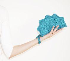 Teal Blue Clutch Bag Teal Shell Clutch Handbag by #KeraSoftwear