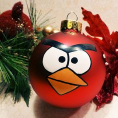 Angry Bird Red Glass Ornament , I could never buy it for that price but simple enough to make.. maybe not as straight and neatly :)