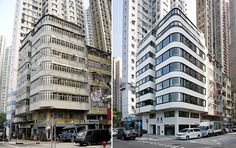 Before & After - Tung Fat Building By K.P.D.O | Australian design firm K.P.D.O. (Kerry Phelan Design Office) have completed the transformation of a run-down building from the 1960s in Hong Kong, into the Tung Fat Building, which is now home to updated contemporary apartments.