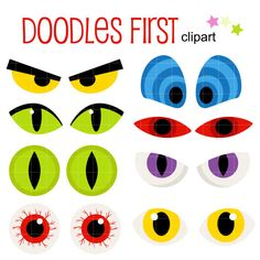 Halloween+Scary+Eyes+Digital+Clip+Art+for+by+DoodlesFirst+on+Etsy