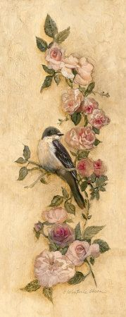 Vintage flower tattoo with a bird. This is so pretty and could be perfect to represent Grandma. Decoupage Vintage, Art Vintage, Vintage Birds, Vintage Flowers, Vintage Prints, Vintage Bird Tattoo, Vintage Pictures, Vintage Images, Tattoo Son