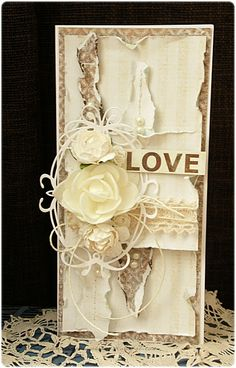 Made by Groszek: Roses are...white wedding card