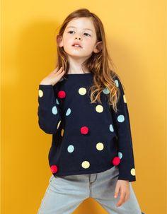 ae4b70114 Camisola de malha às bolas de 100% algodão para menina. Interior com forro  em