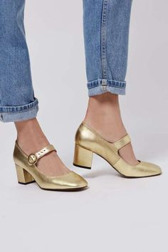 Jig Metallic Mary-Janes in Gold (TopShop) Women's Shoes Sandals, Shoe Boots, Topshop Sale, Metallic Shoes, Mary Jane Heels, Wedding Shoes, Mary Janes, Character Shoes, Leather Boots