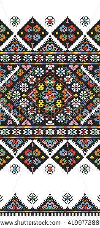 Embroidered good like old handmade cross-stitch ethnic Ukraine pattern. Pattern Art, Ukraine, Folk Art, Bohemian Rug, Royalty Free Stock Photos, Cross Stitch, Traditional, Ethnic, Quilts