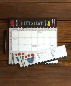 So this looks fun. A space to plan out meals on a weekly calendar and a detachable grocery list. :: 'Let's Eat' Menu Notepad