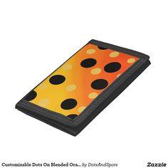 Customizable Dots On Blended OrangeToYellow Trifold Wallet