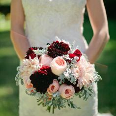 cranberry peach bridal bouquet - garden roses, dusty miller, dahlias...