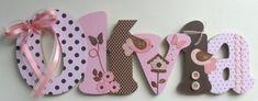 Nome decorado em MDF e Scrap personalizado para decoração de quarto, porta maternidade, festas... Tema e cores a sua escolha