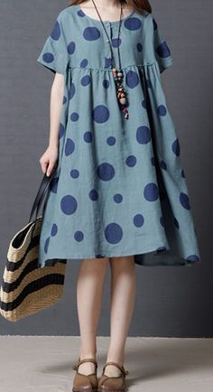 Women loose fit over plus size retro polka dots dress midi tunic pregnant chic #Unbranded #dress #Casual