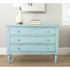 Safavieh Talbet Distressed Blue 3-Drawer Storage Chest