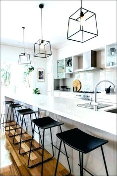 30 Best Kitchen Lighting Fixtures & Ideas for Your New Kitchen Best Kitchen Lighting, Kitchen Lighting Design, Kitchen Lighting Fixtures, Kitchen Pendant Lighting, Kitchen Pendants, Lantern Pendant, Pendant Lamps, Island Pendants, Kitchen Pendent Lights