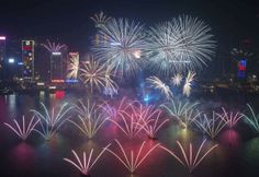 New Year's Eve ~ December 31, 2013: Midnight January 1, 2014 fireworks over Hong Kong's Victoria Harbor