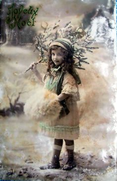 Image Detail for - French Antique Christmas Card Postcard by LeTrip on Etsy Norway Christmas, Old World Christmas, Old Fashioned Christmas, Christmas Past, Victorian Christmas, Vintage Christmas Cards, Christmas Greeting Cards, Christmas Pictures, Vintage Cards