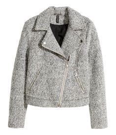 Light grey biker jacket in wool-blend bouclé. Diagonal zip at front, snap fasteners on lapels, and side pockets with zip. Lined. | H&M Divided